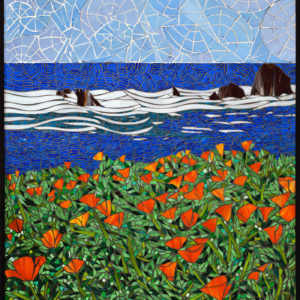 California Coastline, Santa Barbara  40″ x 30″ each colored glass mosaic on clear tempered glass detail 2, 2014 (private collection)