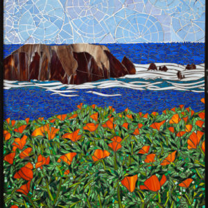 California Coastline, Santa Barbara  40″ x 30″ each colored glass mosaic on clear tempered glass detail 1, 2014 (private collection)